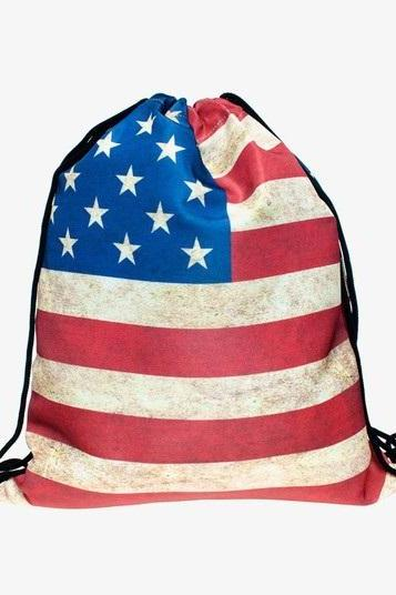 Travel School Girl Teenage US flag Emoji Design Drawstring Bag Woman Softback Backpack