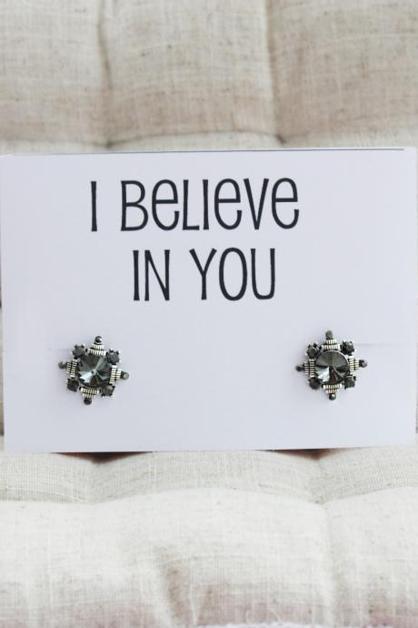 I Believe in You Gift Card Stud Alloy Vintage Jewelry Family and Friend Gift Woman Fashion Earrings
