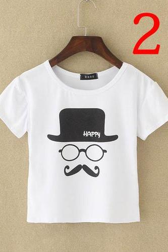 Happy face print white cool teenage schoolgirl Crop Top Summer Girl Tee