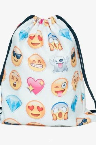 Travel School Girl Teenage Casual Emoji Design White Polyester Drawstring Bag Woman Softback Backpack