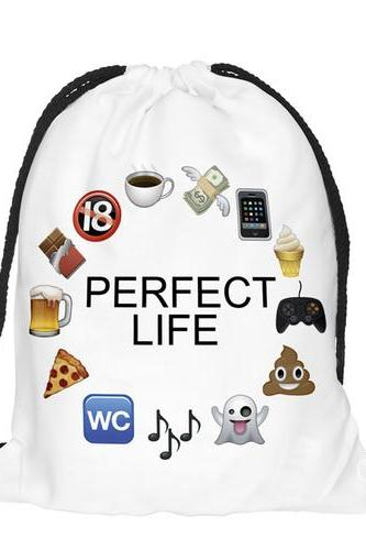 Back to School Perfect Life Pattern Funny Design Drawstring Bag Woman Softback Backpack
