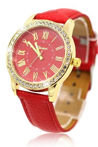 Luxury fashion rhinestones crystals PU leather red band watch