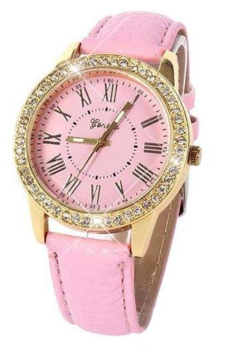 Luxury fashion rhinestones crystals PU leather pink band watch
