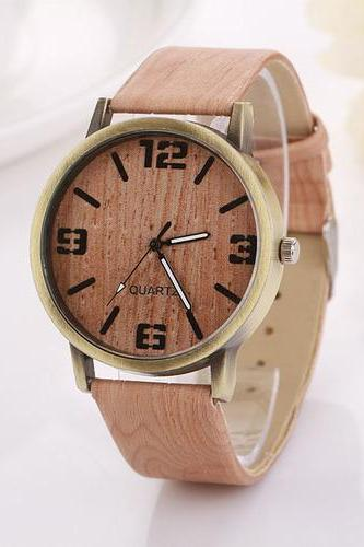 Wood grain texture party girl gift unisex fashion teen woman watch