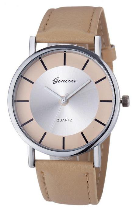 Elegant Formal Dress Pu Leather Strap Beige Woman Gift silver Face Teen Watch