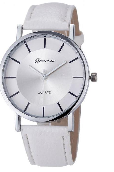 Elegant Formal Dress Pu Leather Strap White Woman Gift silver Face Teen Watch