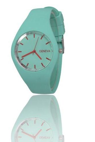Sport teenage green silicone eko friendly rubber strap girl watch