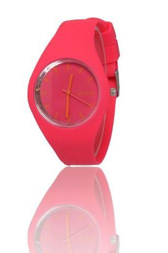 Sport teenage red silicone rubber strap girl watch