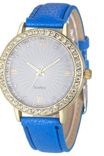 Elegant Rhinestone GOld Toned Case Dress Pu Leather Blue Strap Woman Gift Teen Watco
