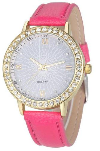 Elegant Rhinestone GOld Toned Case Dress Pu Leather Hot Pink Strap Woman Gift Teen Watch