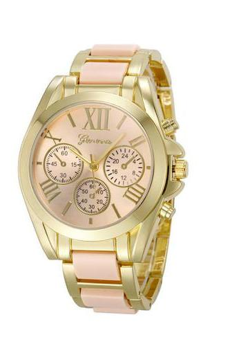 Gold Toned Alloy Strap Woman Dress Fashion Evening Light Pink Watch
