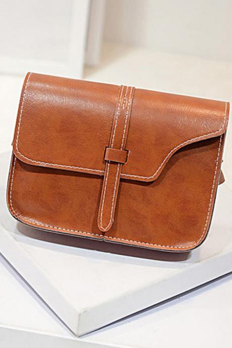 Messenger Shoulder Brown Fashion Long Shoulder bag PU Leather Woman Handbag
