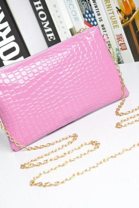 Messenger Shoulder Golden Chain Strap Fashion Crossbody Clutch PU Leather Purple Woman Bag Handbag