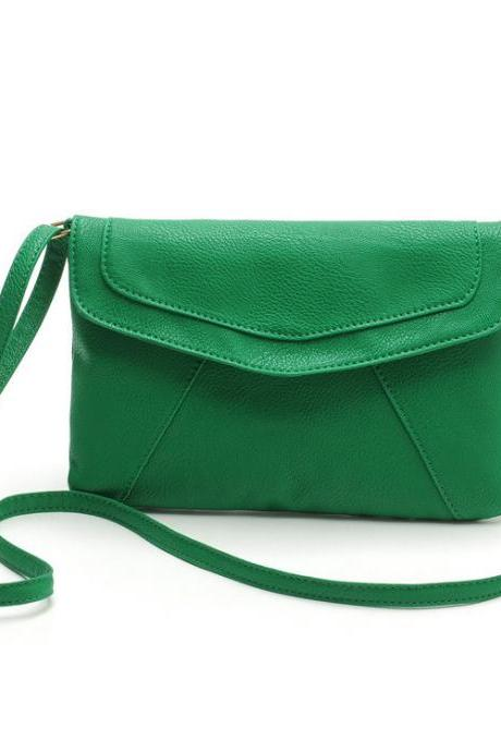 Messenger Shoulder Golden Leather Strap Fashion Crossbody Messanger Clutch PU Leather Green Woman Bag Handbag