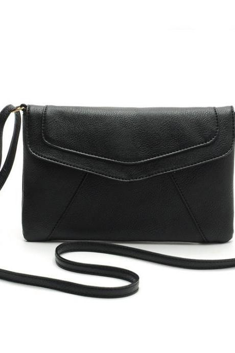 Black Faux Leather Messenger Crossbody