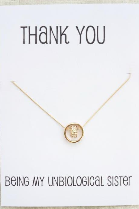 Thank you For Beeing My Unbiological Sister Gift Card Heart and Ring Pendants Rhinestones Gold Toned Woman Fashion Necklace