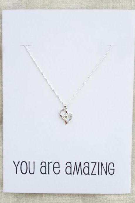 Silver Toned Heart Crystal Pendant Love you You are Amazing Friends adn Family Gift Card Woman Fashion Necklace