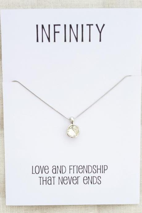 Silver Toned Circle Crystal Pendant Infinity Friends and Family Gift Card Woman Fashion Jewelry Necklace