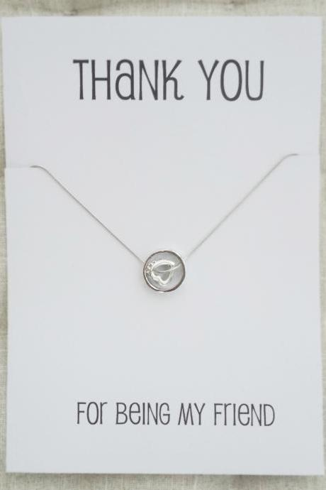 Thank you for being my Friend Gift Card Heart and Ring Pendants Rhinestones Silver Toned Woman Fashion Necklace