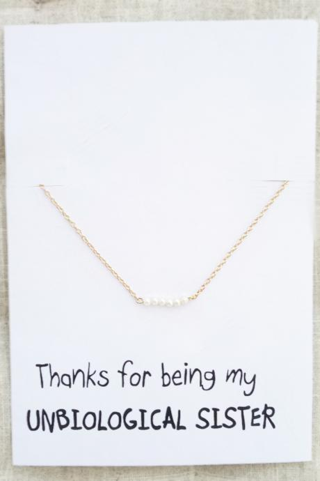 Thank you for Being Unbiological Sister Six Pearls Pendant Gold Toned Chain Necklace
