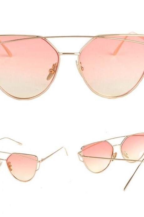 Rose Lenses Cat Eye Sunglasses Women Sunglasses Double-Deck Alloy Frame Sunglasses