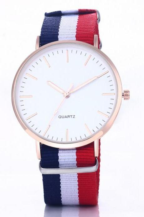 Casual Sport Style Nylon Strap Red- Blue Band Unisex Quartz Teen Wrist Woman Watch