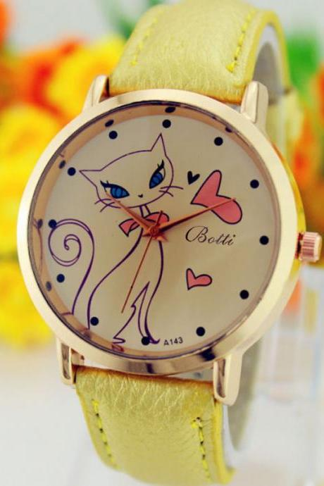 Cat Love Fashion Dress Lady Girl PU Leather Beige Band Woman Watch