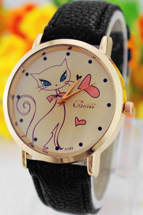 Cat Love Fashion Dress Lady Girl PU Leather Black Band Woman Watch