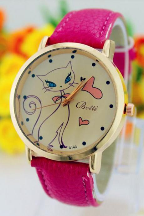 Cat Love Fashion Dress Lady Girl PU Leather Purple Band Woman Watch