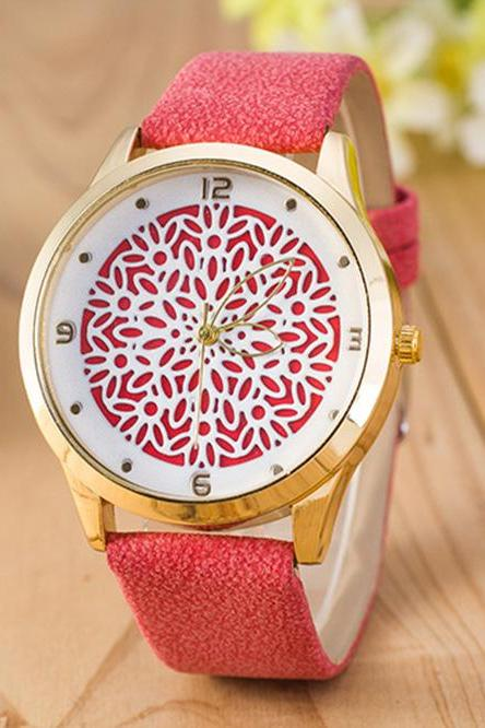 Floral Design Vintage Fashion Dress Lady Girl PU Leather Red Band Woman Watch