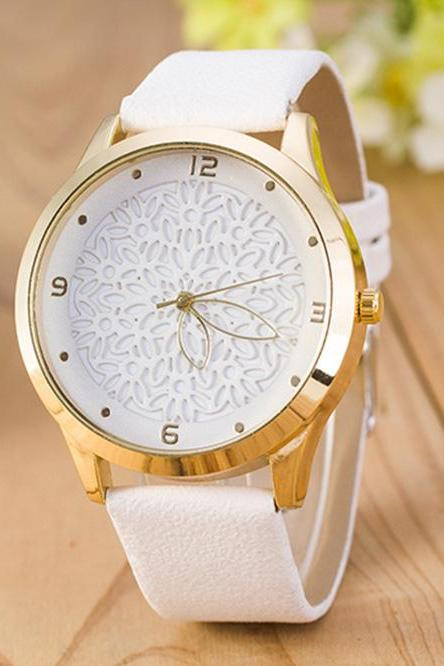 Floral Design Vintage Fashion Dress Lady Girl PU Leather White Band Woman Watch