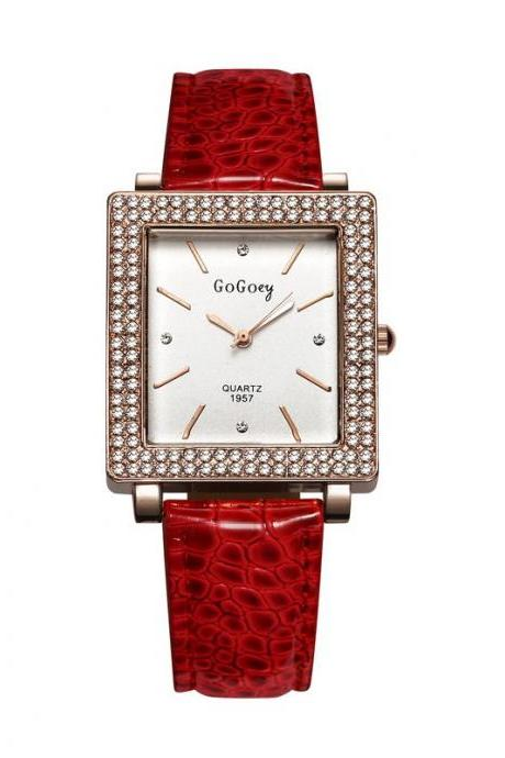 Rhinestones elegant evening red band fashion teen dress girl watch