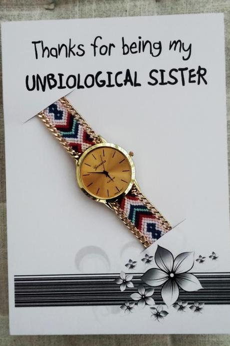 Colorful Band Friendship Wrist Unbiological Sister Gift Card Watch