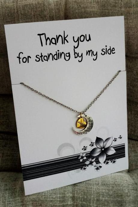 Thank You for Standing by My Side Love you Daughter Holiday Gift Woman Mother Jewelry Pendant Necklace