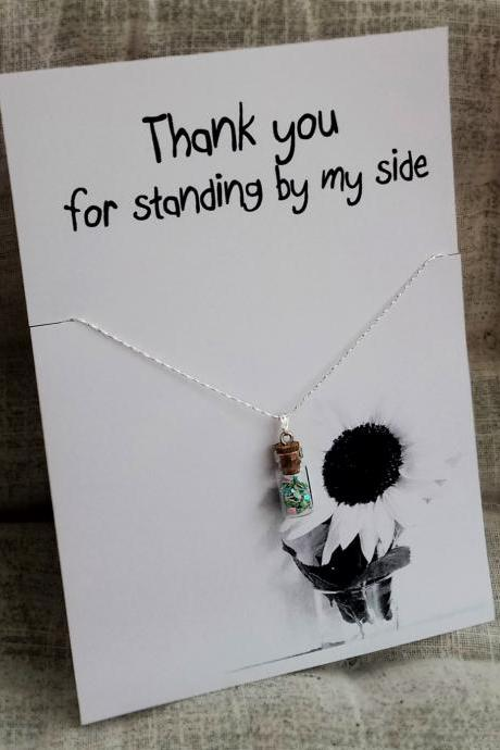 Lucky Bottle Pendant Thanks my Friends and Family Gift Card Woman Fashion Necklace