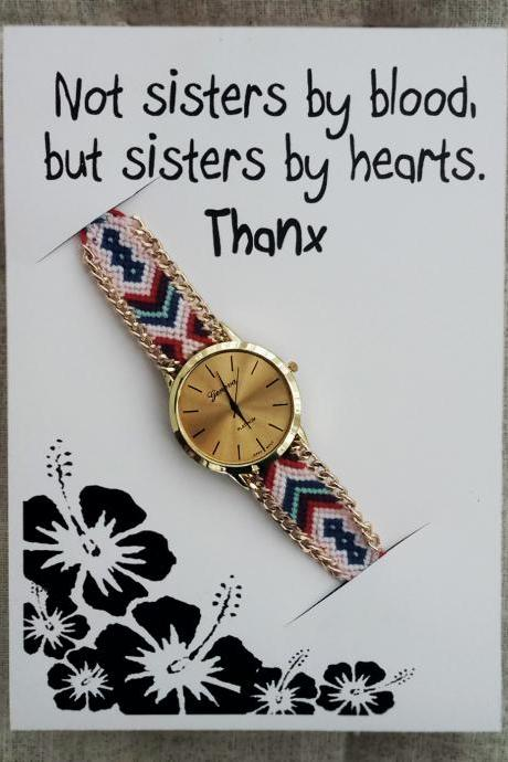 Sisters by Hearts Gift Card Friendship Band Gift Wristwatch Cloth Band Woman Gift Christmas Watch