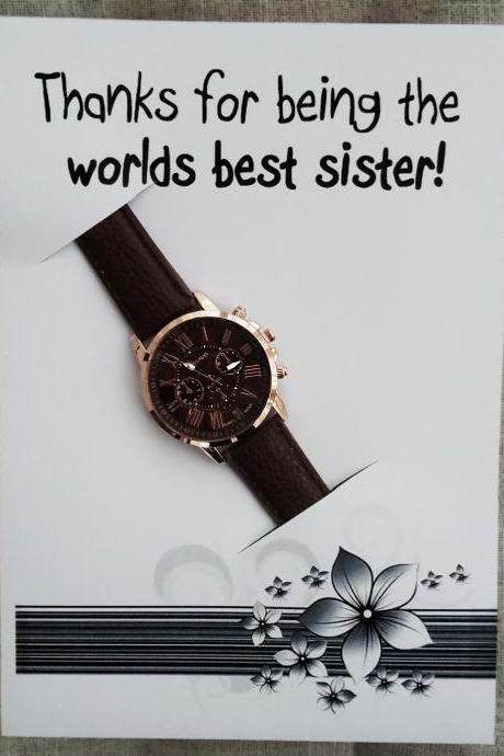 Brown Band Fashion Wrist Watch Unisex Gift Worlds Best Sister Card Gift Christmas Watch