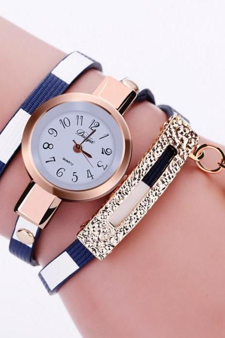 Wrap PU leather luxury dress woman blue fashion gift watch