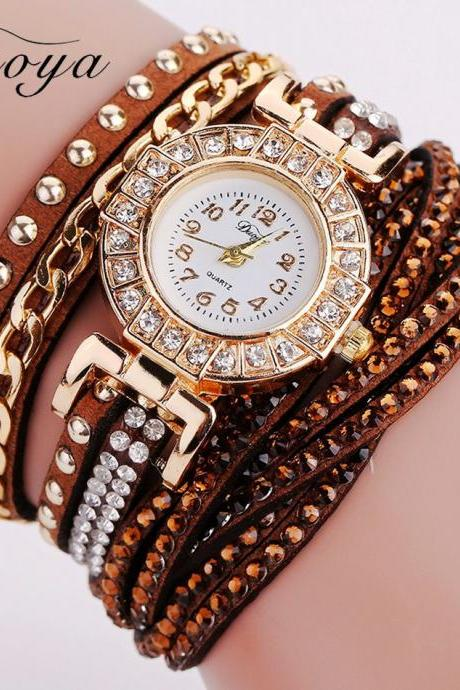 Wrap PU leather bracelet luxury dress woman brown girl rhinestones elegant fashion gift watch