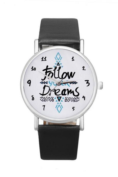 Follow your dreams black band girl teen fashion watch