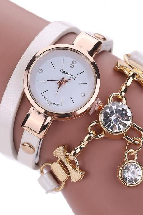 Wrap PU leather bracelet luxury dress woman white girl crystal pandant fashion gift watch