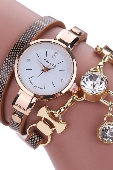 Wrap PU leather bracelet luxury dress woman girl crystal pandant fashion gift watch
