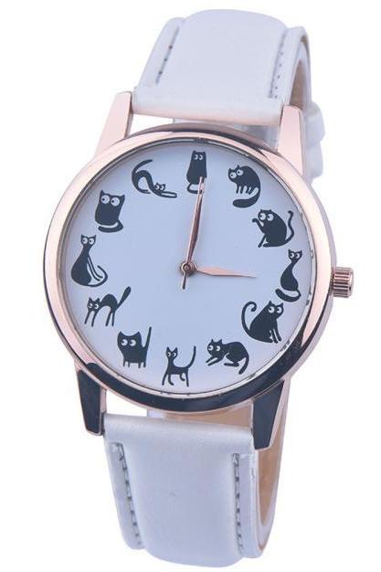 Cats emotions white band girl teen fashion watch