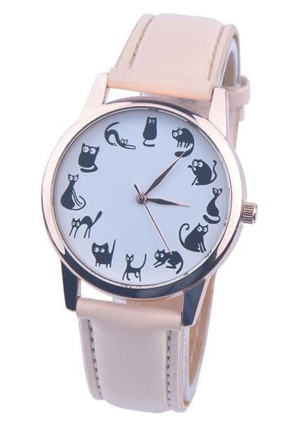 Cats emotions beige band girl teen fashion watch