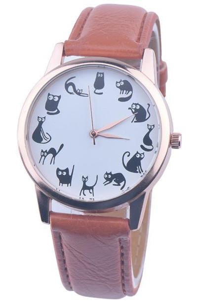 Cats emotions brown band girl teen fashion watch