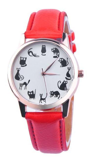 Cats emotions red band girl teen fashion watch