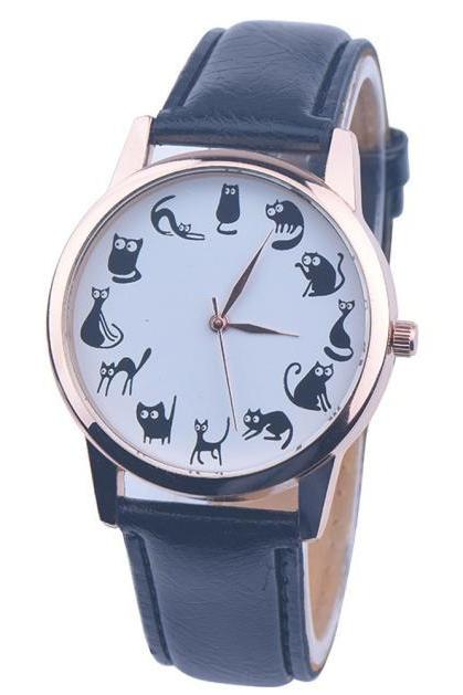 Cats emotions blue band girl teen fashion watch