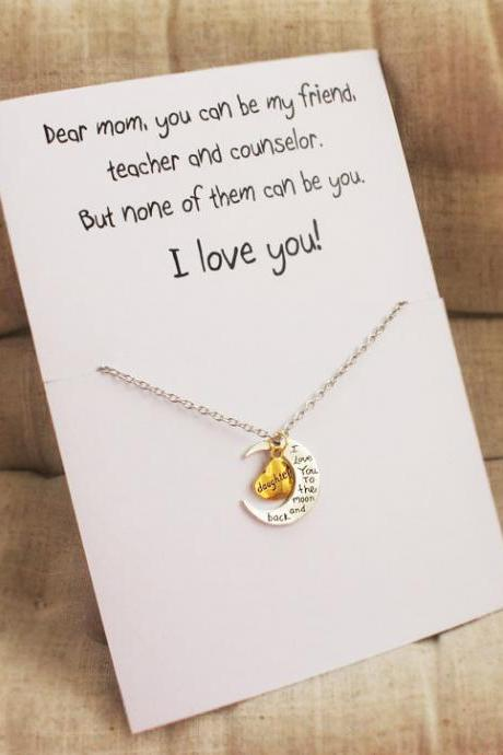 Love You to them Moon and Heart Woman Mom Gift Pendant Stone Necklace