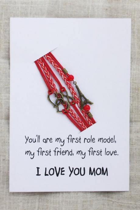 I love you Mom Gift Card Unisex Double Hearts Infinity red Firnedship Bracelet