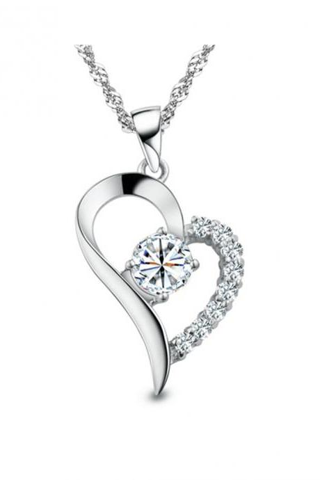 Silver Toned Heart Crystal Pendant Love you Gift Woman Necklace